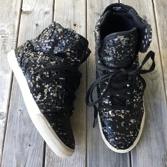 Poshmark Supra W High Top Sneaker 8 Sequins ShoesBlack Silver Sz DW29EIHY